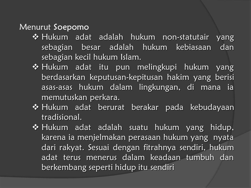 Menurut Soepomo  Hukum adat adalah hukum non-statutair yang sebagian besar adalah hukum kebiasaan dan sebagian kecil hukum Islam.  Hukum adat itu pu