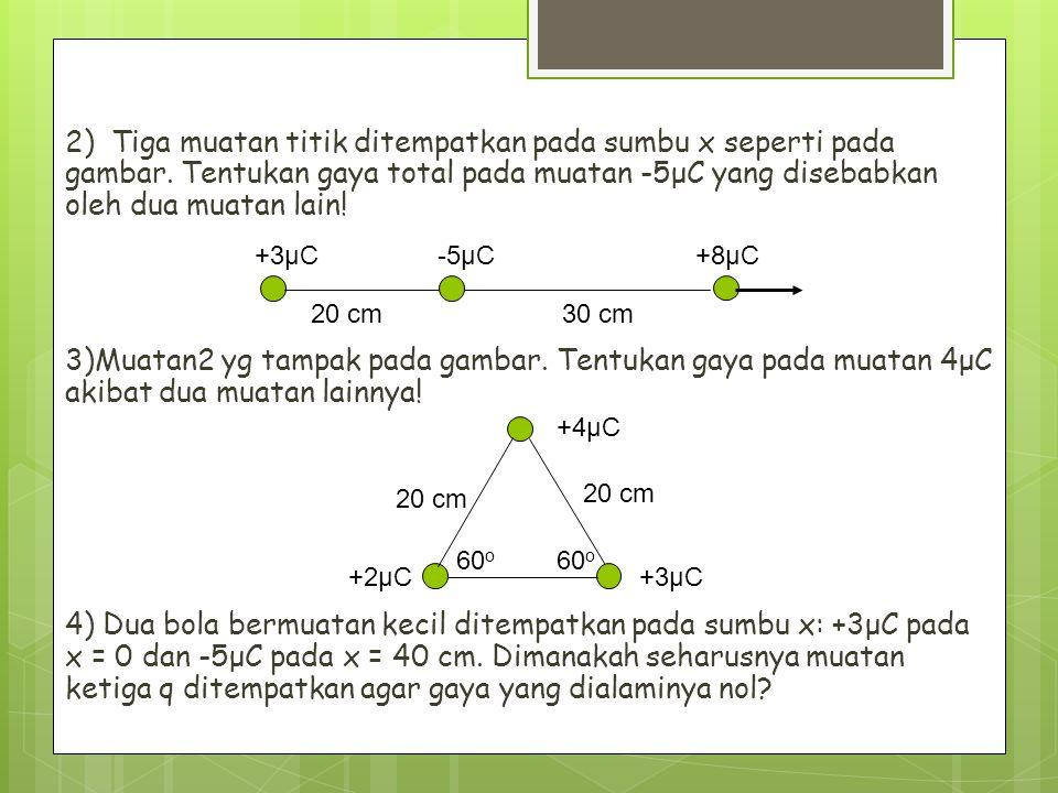 2) Tiga muatan titik ditempatkan pada sumbu x seperti pada gambar. Tentukan gaya total pada muatan -5μC yang disebabkan oleh dua muatan lain! 3)Muatan