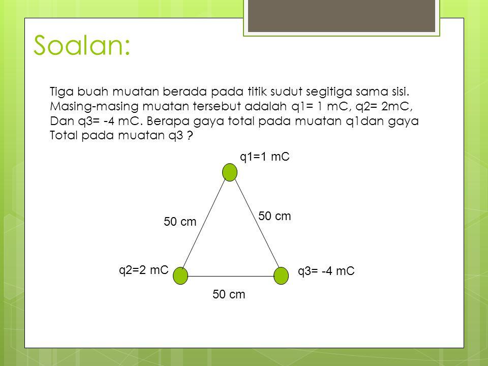 Soalan: Tiga buah muatan berada pada titik sudut segitiga sama sisi. Masing-masing muatan tersebut adalah q1= 1 mC, q2= 2mC, Dan q3= -4 mC. Berapa gay
