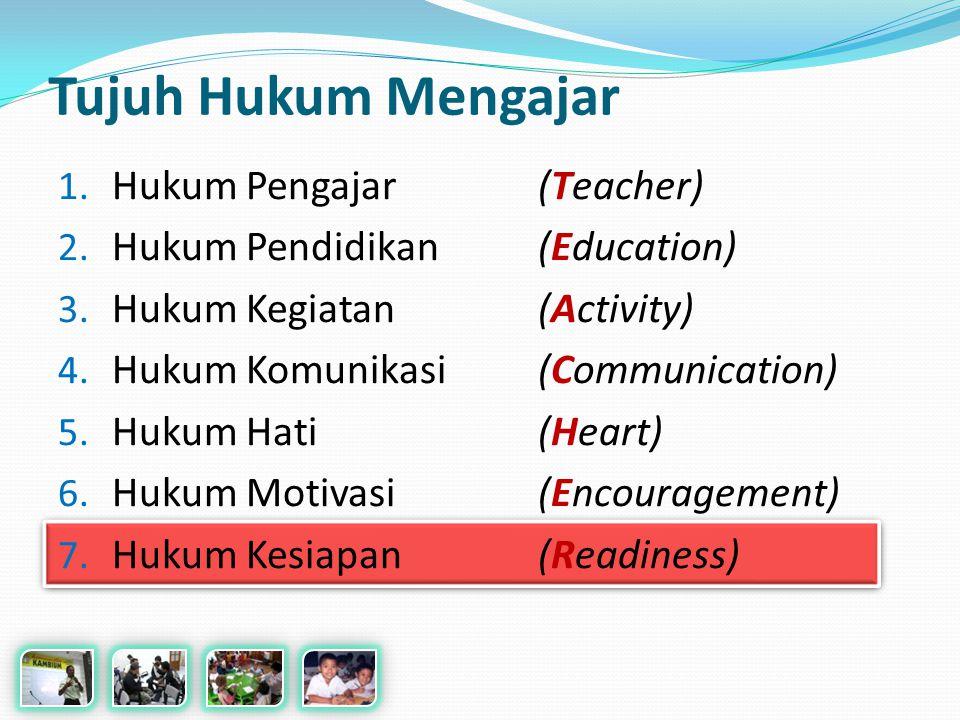 Tujuh Hukum Mengajar 1.Hukum Pengajar (Teacher) 2.