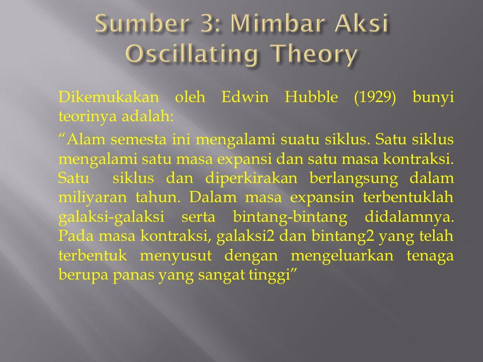 Dikemukakan oleh Edwin Hubble (1929) bunyi teorinya adalah: Alam semesta ini mengalami suatu siklus.