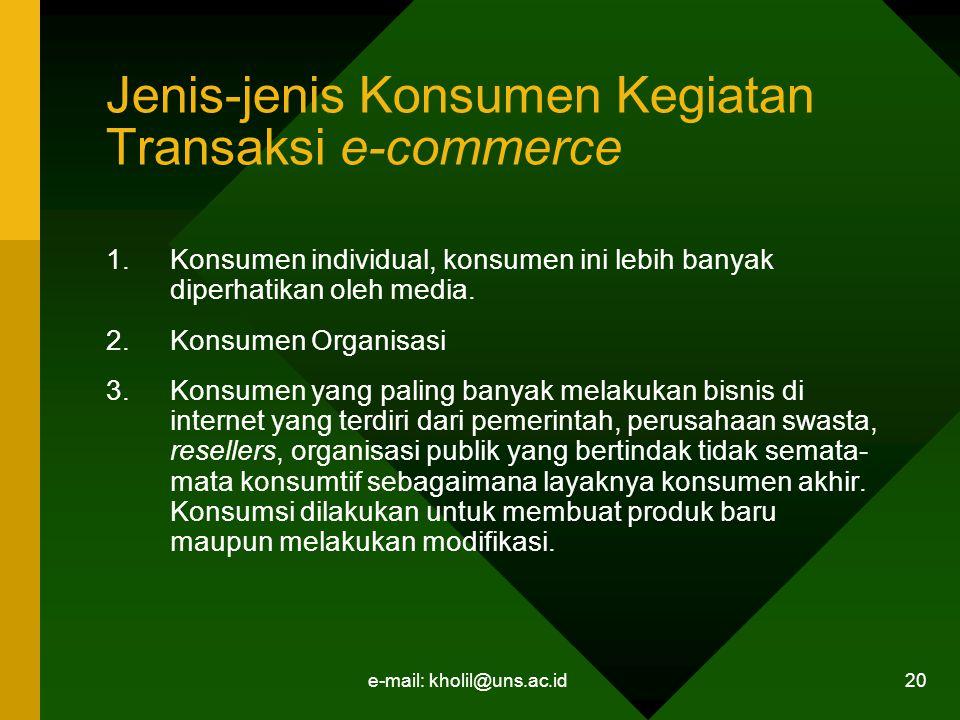 e-mail: kholil@uns.ac.id 20 Jenis-jenis Konsumen Kegiatan Transaksi e-commerce 1.Konsumen individual, konsumen ini lebih banyak diperhatikan oleh media.
