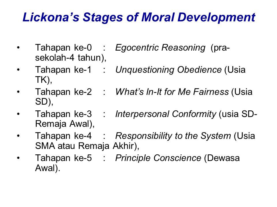 Lickona's Stages of Moral Development Tahapan ke-0:Egocentric Reasoning (pra- sekolah-4 tahun), Tahapan ke-1: Unquestioning Obedience (Usia TK), Tahap