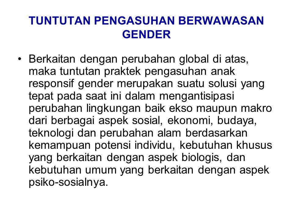 TUNTUTAN PENGASUHAN BERWAWASAN GENDER Berkaitan dengan perubahan global di atas, maka tuntutan praktek pengasuhan anak responsif gender merupakan suat