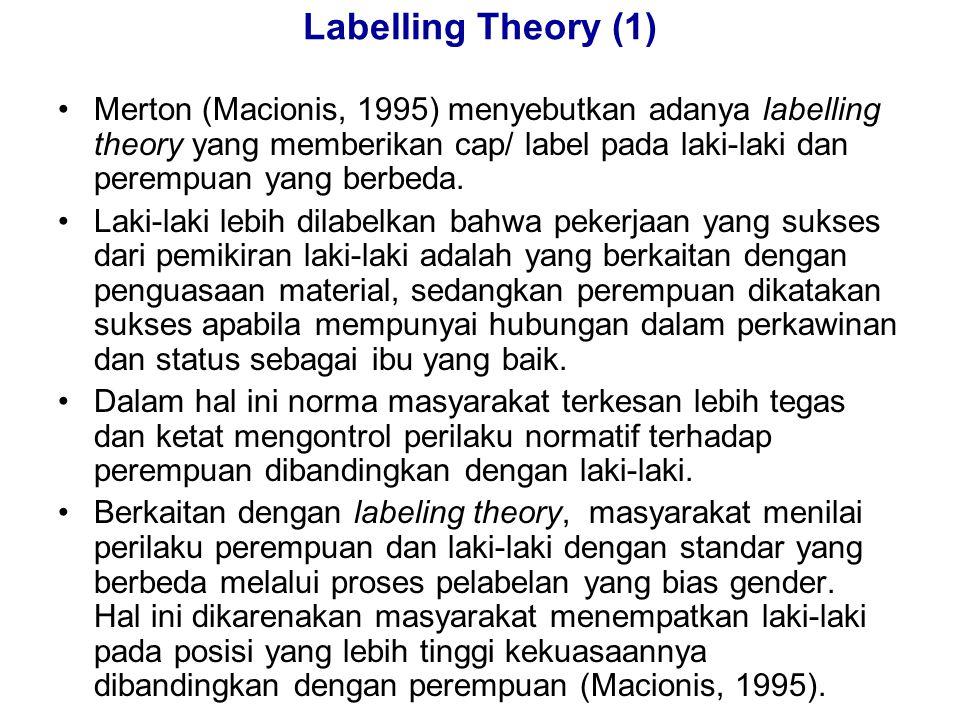 Labelling Theory (1) Merton (Macionis, 1995) menyebutkan adanya labelling theory yang memberikan cap/ label pada laki-laki dan perempuan yang berbeda.