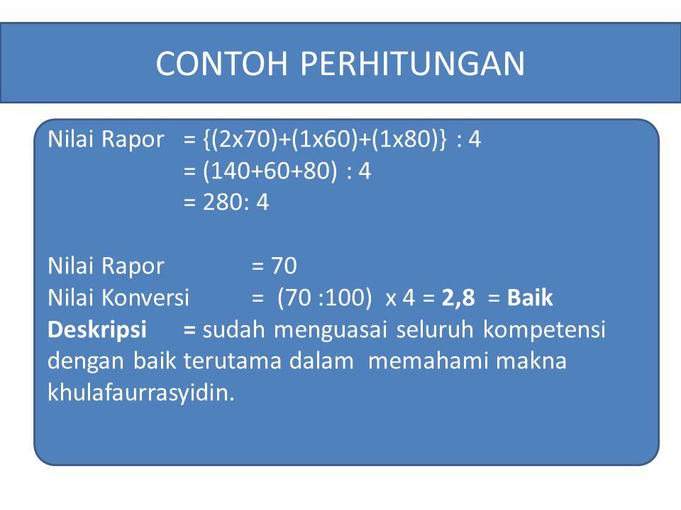 Nilai Rapor= {(2x70)+(1x60)+(1x80)} : 4 = (140+60+80) : 4 = 280: 4 Nilai Rapor = 70 Nilai Konversi = (70 :100) x 4 = 2,8 = Baik Deskripsi= sudah mengu