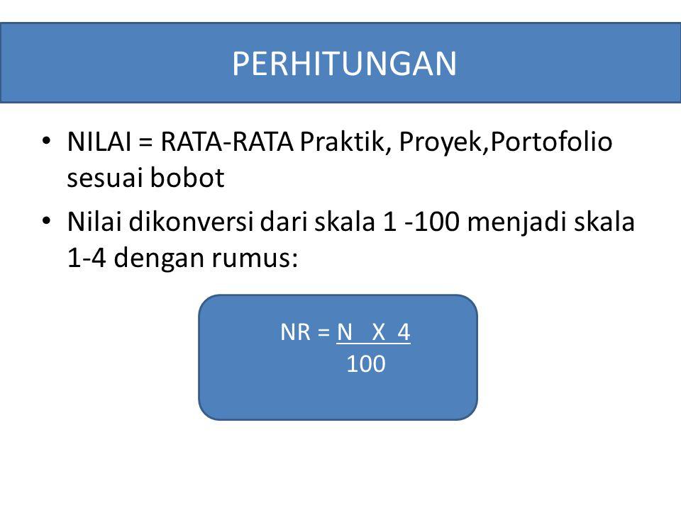 NILAI = RATA-RATA Praktik, Proyek,Portofolio sesuai bobot Nilai dikonversi dari skala 1 -100 menjadi skala 1-4 dengan rumus: PERHITUNGAN NR = N X 4 10