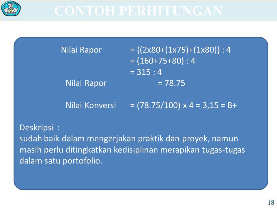 CONTOH PERHITUNGAN 18 Nilai Rapor = {(2x80+(1x75)+(1x80)} : 4 = (160+75+80) : 4 = 315 : 4 Nilai Rapor = 78.75 Nilai Konversi = (78.75/100) x 4 = 3,15