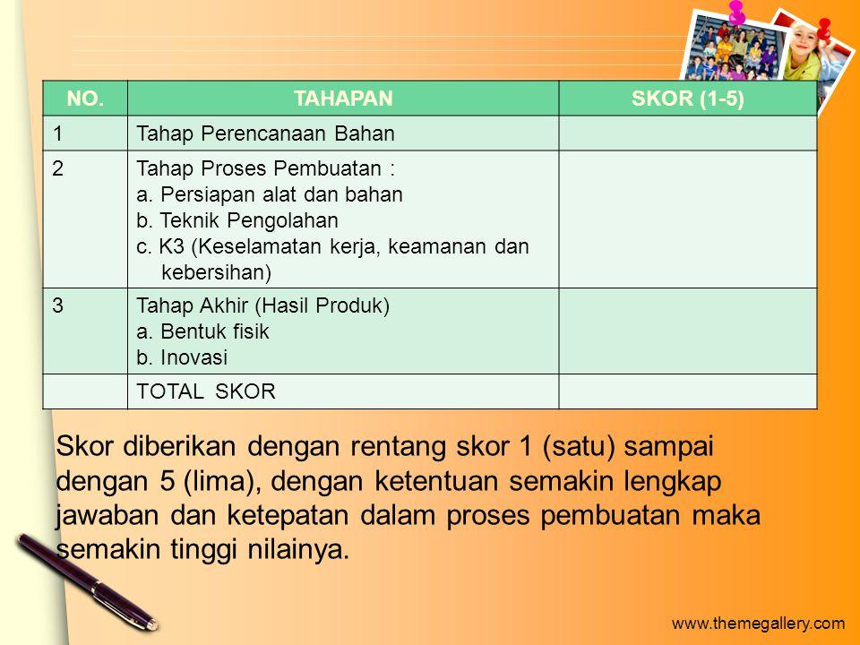 www.themegallery.com NO.TAHAPANSKOR (1-5) 1Tahap Perencanaan Bahan 2Tahap Proses Pembuatan : a.