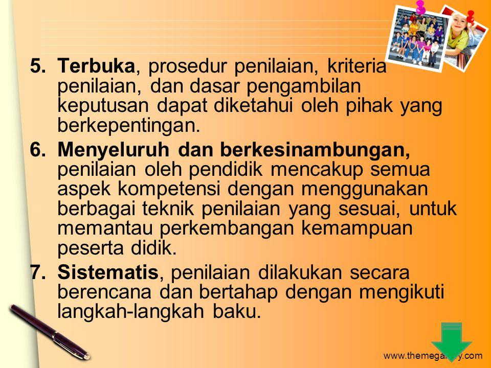 www.themegallery.com contoh Lembar Pengamatan Sikap Peserta Didik NO.NAMA SIKAP Kedisiplina n KerjasamaKejujuranTanggung jawab 1 2 3 Keterangan: Skala penilaian sikap dibuat dengan rentang antara 1 s.d 5.