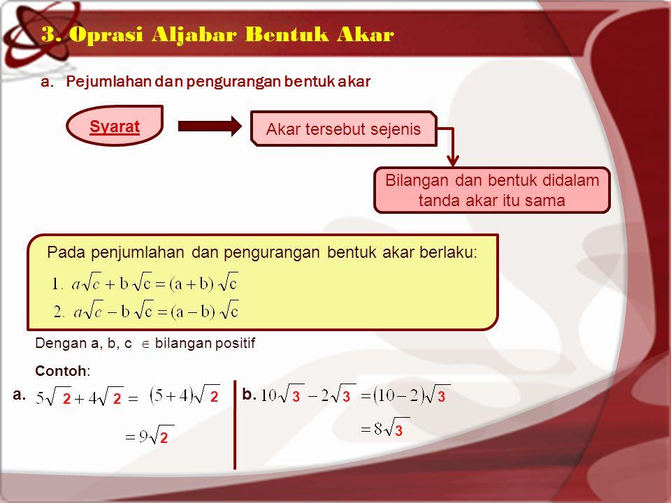 3. Oprasi Aljabar Bentuk Akar a.Pejumlahan dan pengurangan bentuk akar Syarat Akar tersebut sejenis Bilangan dan bentuk didalam tanda akar itu sama Pa