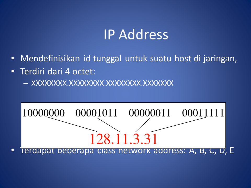 IP Address Mendefinisikan id tunggal untuk suatu host di jaringan, Terdiri dari 4 octet: – XXXXXXXX.XXXXXXXX.XXXXXXXX.XXXXXXX Terdapat beberapa class network address: A, B, C, D, E