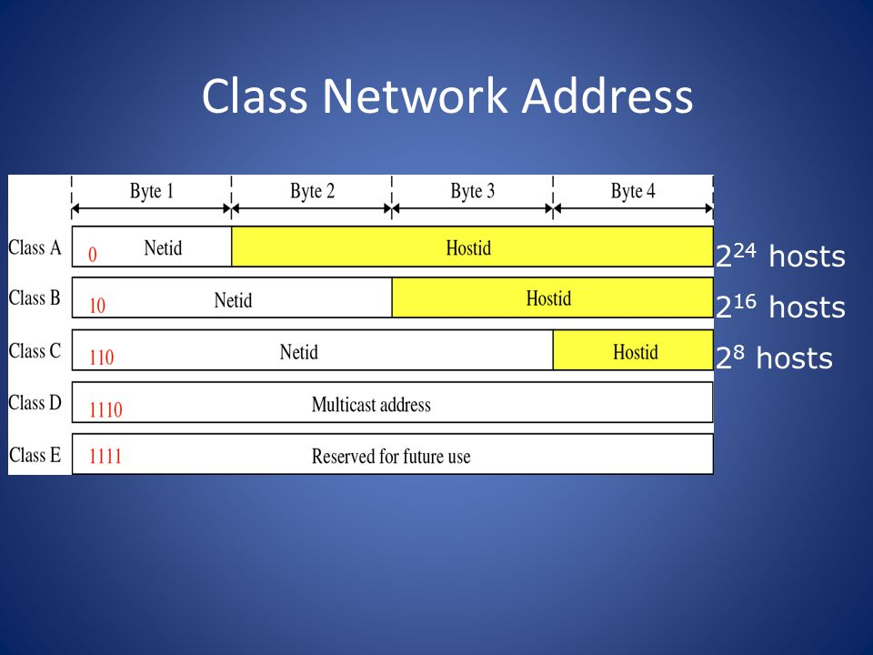 Class Network Address 2 24 hosts 2 16 hosts 2 8 hosts