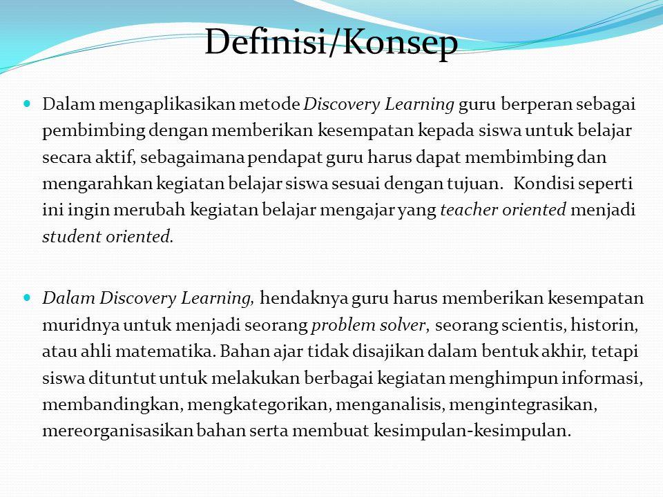 Metode Discovery Learning adalah teori belajar yang didefinisikan sebagai proses pembelajaran yang terjadi bila pelajar tidak disajikan dengan pelajar