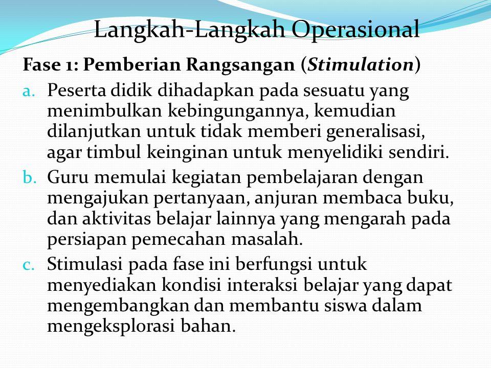 LANGKAH-LANGKAH OPERASIONAL DISCOVERY LEARNING FASE 1: PEMBERIAN RANGSANGAN (SIMULATION) FASE 2: IDENTIFIKASI MASALAH (PROBLEM STATEMENT) FASE 3: PENG