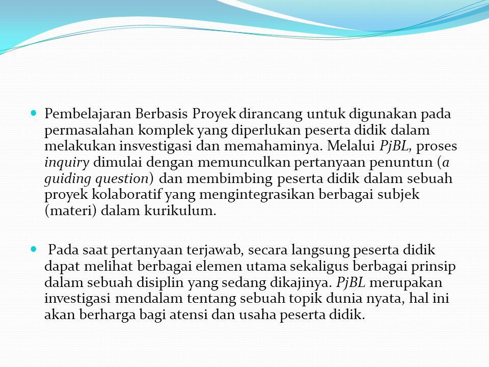 Pembelajaran Berbasis Proyek (Project Based Learning=PjBL) adalah metoda pembelajaran yang menggunakan proyek/kegiatan sebagai media. Peserta didik me