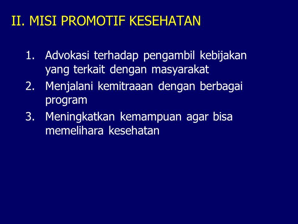 II. MISI PROMOTIF KESEHATAN 1.Advokasi terhadap pengambil kebijakan yang terkait dengan masyarakat 2.Menjalani kemitraaan dengan berbagai program 3.Me