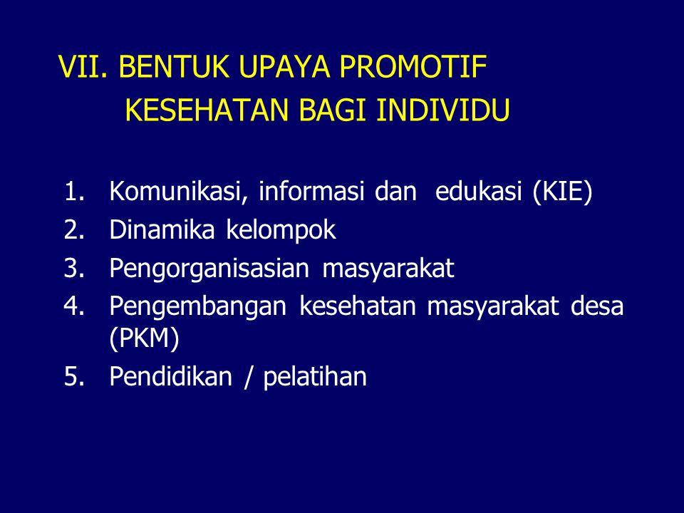 VII. BENTUK UPAYA PROMOTIF KESEHATAN BAGI INDIVIDU 1.Komunikasi, informasi dan edukasi (KIE) 2.Dinamika kelompok 3.Pengorganisasian masyarakat 4.Penge