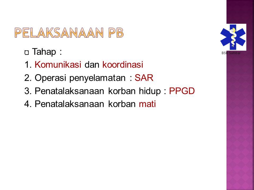 Tahap : 1. Komunikasi dan koordinasi 2. Operasi penyelamatan : SAR 3. Penatalaksanaan korban hidup : PPGD 4. Penatalaksanaan korban mati BSB Sumbar