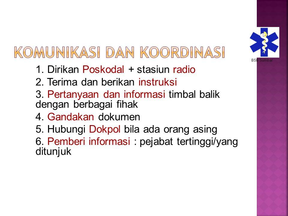 1. Dirikan Poskodal + stasiun radio 2. Terima dan berikan instruksi 3. Pertanyaan dan informasi timbal balik dengan berbagai fihak 4. Gandakan dokumen