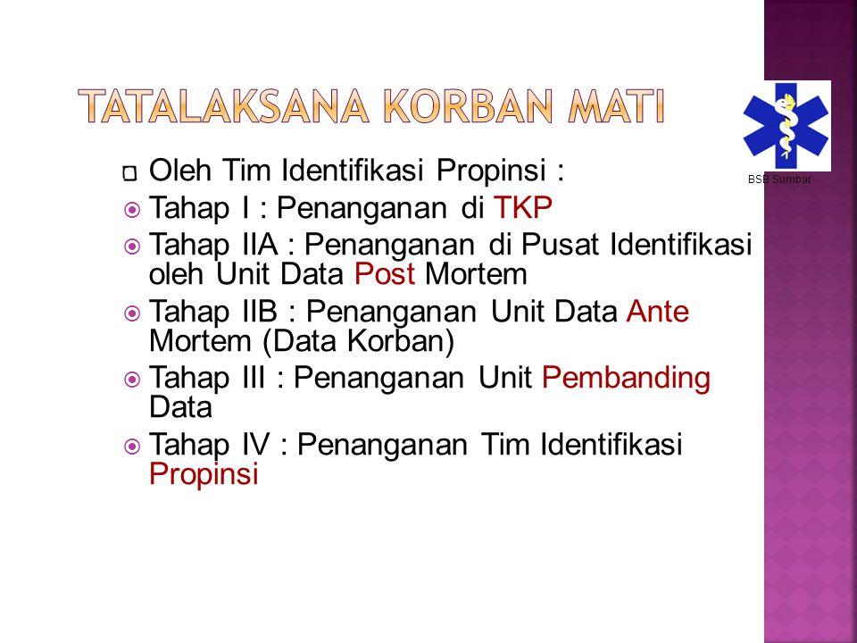 Oleh Tim Identifikasi Propinsi :  Tahap I : Penanganan di TKP  Tahap IIA : Penanganan di Pusat Identifikasi oleh Unit Data Post Mortem  Tahap IIB :