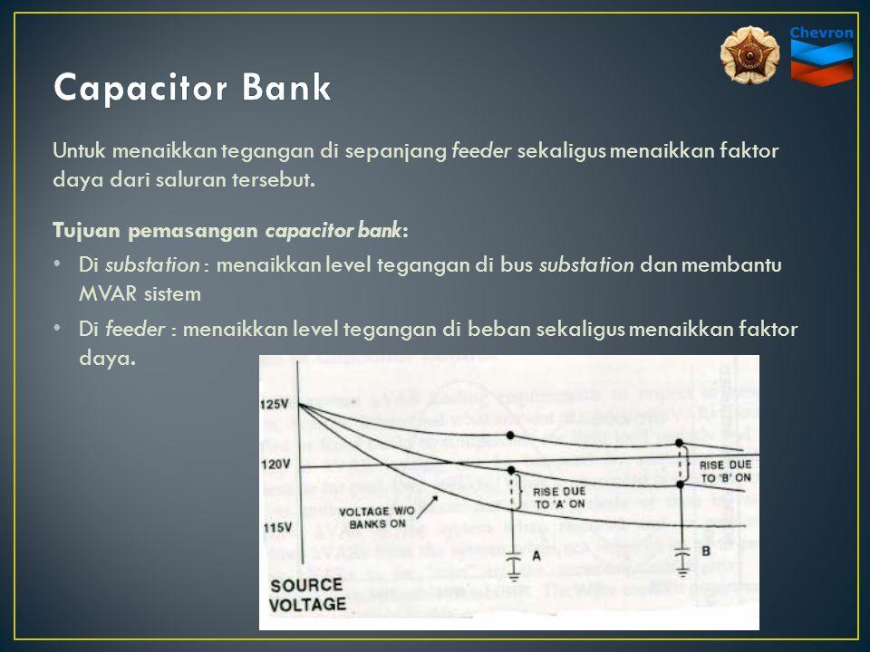 Untuk menaikkan tegangan di sepanjang feeder sekaligus menaikkan faktor daya dari saluran tersebut. Tujuan pemasangan capacitor bank: Di substation :