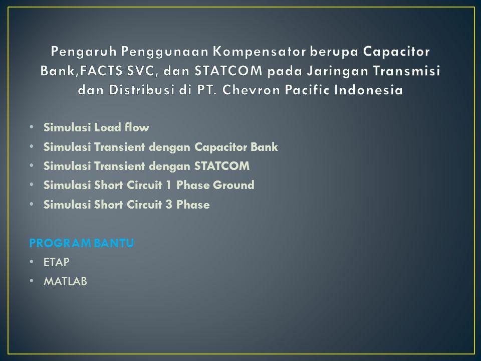 Simulasi Load flow Simulasi Transient dengan Capacitor Bank Simulasi Transient dengan STATCOM Simulasi Short Circuit 1 Phase Ground Simulasi Short Cir