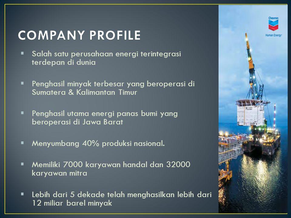  Salah satu perusahaan energi terintegrasi terdepan di dunia  Penghasil minyak terbesar yang beroperasi di Sumatera & Kalimantan Timur  Penghasil utama energi panas bumi yang beroperasi di Jawa Barat  Menyumbang 40% produksi nasional.