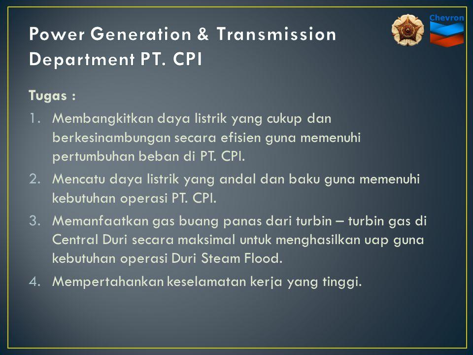 Tugas : 1.Membangkitkan daya listrik yang cukup dan berkesinambungan secara efisien guna memenuhi pertumbuhan beban di PT. CPI. 2.Mencatu daya listrik