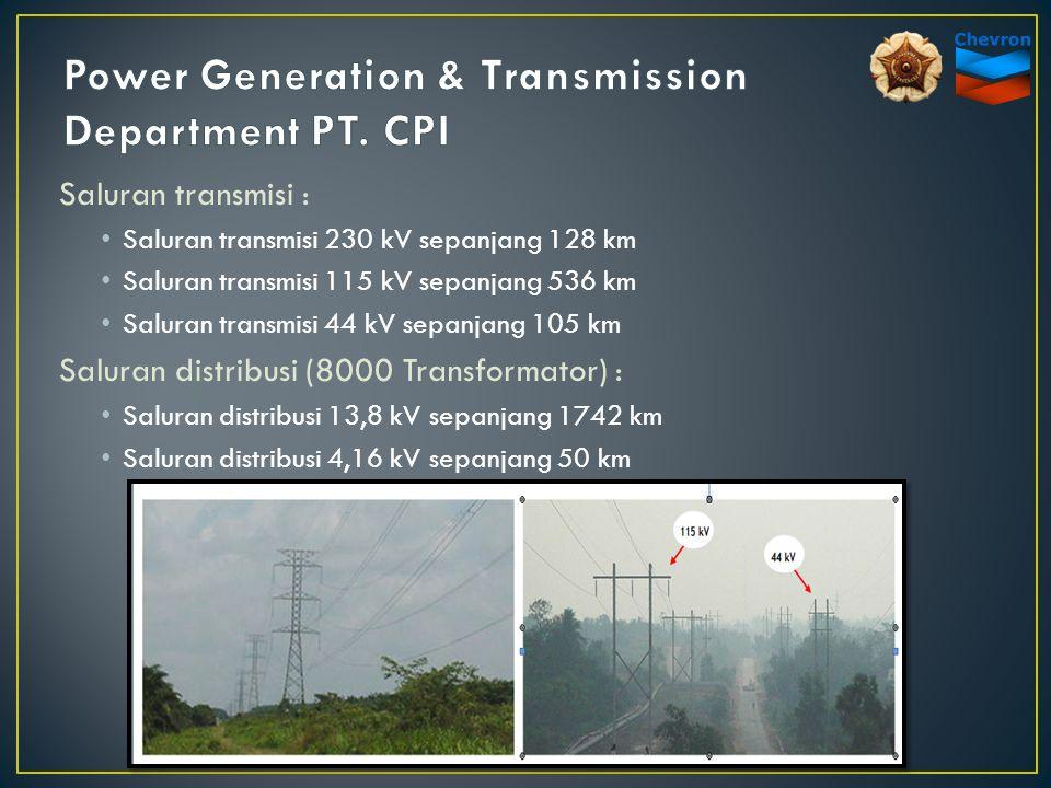 Saluran transmisi : Saluran transmisi 230 kV sepanjang 128 km Saluran transmisi 115 kV sepanjang 536 km Saluran transmisi 44 kV sepanjang 105 km Salur