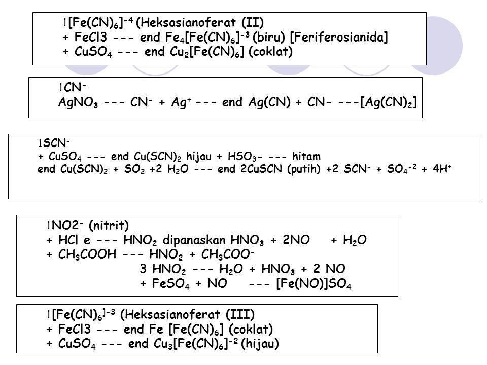 1 NO2 - (nitrit) + HCl e --- HNO 2 dipanaskan HNO 3 + 2NO + H 2 O + CH 3 COOH --- HNO 2 + CH 3 COO - 3 HNO 2 --- H 2 O + HNO 3 + 2 NO + FeSO 4 + NO --