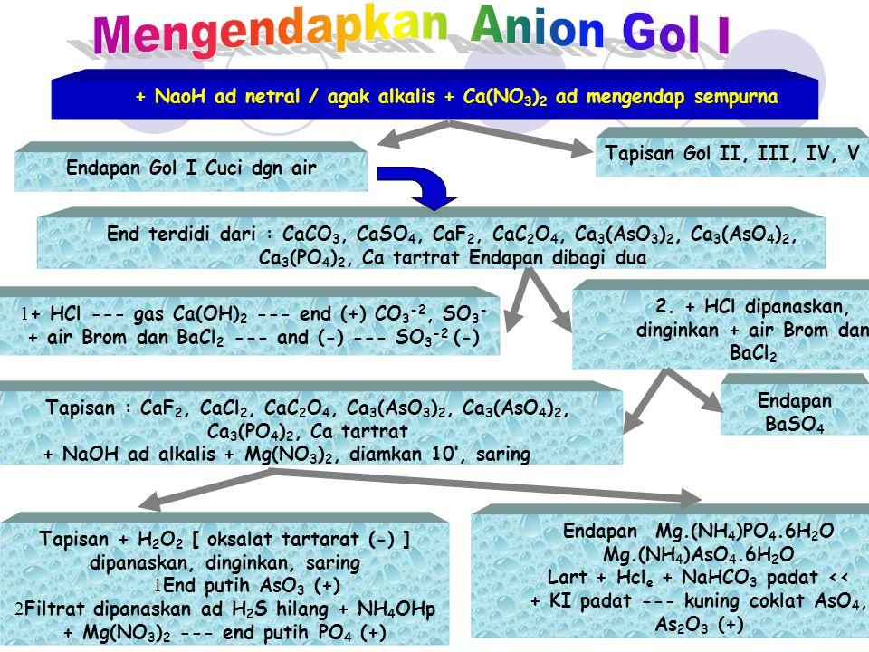 Tapisan II, III, IV, V Netralkan pH 7-8 + Ba(NO 3 ) 2 ad sempurna Tapisan Gol III, IV, V Endapan Gol II Cuci, BaSO 4 ; BaCrO 4 + HCl ad pH ± 1 Endapan BaSO 4 + H 2 SO 4 p dipanaskan, dinginkan --- end putih (kristal rozet) Tapisan II, III, IV, Jika tidak berwarna CrO 4 (-) Warna Kunig + NaOH ad netral --- end kuning orange CrO 4 (+)