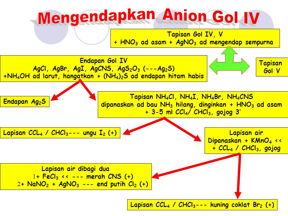 Tapisan Gol V ClO 3 -, CH3COO -, NO 3 -, NO 2 - Tapisan dibagi dua: Dinetralkan + FeCl 3 --- end merah CH 3 COO - (+) + 1 ml H 2 SO 4 e + AgNO 3 dipanaskan end putih + NH 4 OH --- larut ClO 3 - (+)