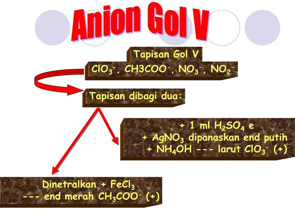 Tapisan Gol V ClO 3 -, CH3COO -, NO 3 -, NO 2 - Tapisan dibagi dua: Dinetralkan + FeCl 3 --- end merah CH 3 COO - (+) + 1 ml H 2 SO 4 e + AgNO 3 dipan