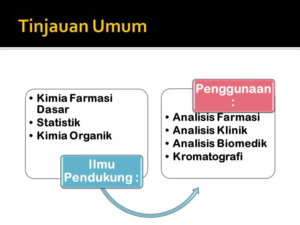 Kimia Farmasi Dasar Statistik Kimia Organik Ilmu Pendukung : Analisis Farmasi Analisis Klinik Analisis Biomedik Kromatografi Penggunaan :