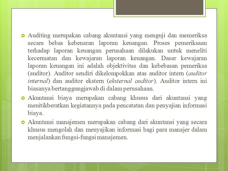  Auditing merupakan cabang akuntansi yang menguji dan memeriksa secara bebas kebenaran laporan keuangan. Proses pemeriksaan terhadap laporan keuangan