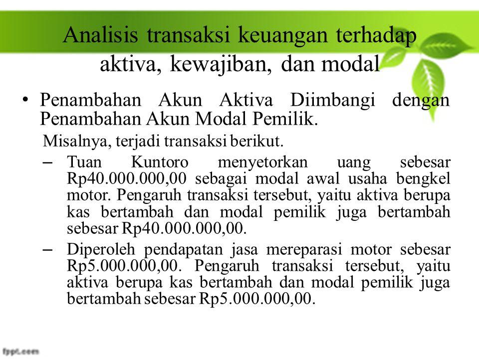 Analisis transaksi keuangan terhadap aktiva, kewajiban, dan modal Penambahan Akun Aktiva Diimbangi dengan Penambahan Akun Modal Pemilik. Misalnya, ter