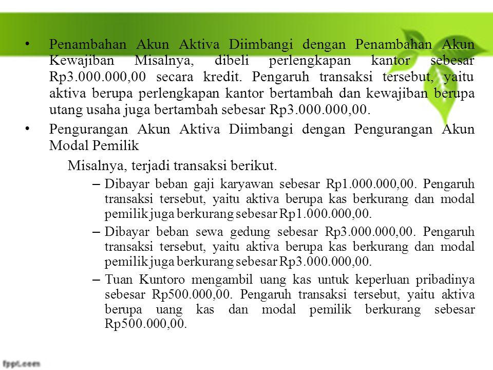 Penambahan Akun Aktiva Diimbangi dengan Penambahan Akun Kewajiban Misalnya, dibeli perlengkapan kantor sebesar Rp3.000.000,00 secara kredit. Pengaruh