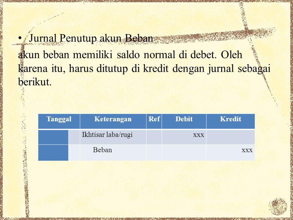 Jurnal Penutup akun Beban akun beban memiliki saldo normal di debet. Oleh karena itu, harus ditutup di kredit dengan jurnal sebagai berikut. TanggalKe
