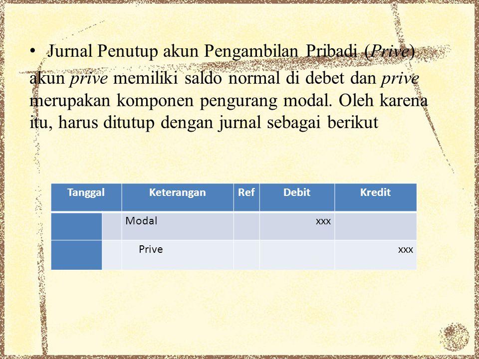 Jurnal Penutup akun Pengambilan Pribadi (Prive) akun prive memiliki saldo normal di debet dan prive merupakan komponen pengurang modal. Oleh karena it