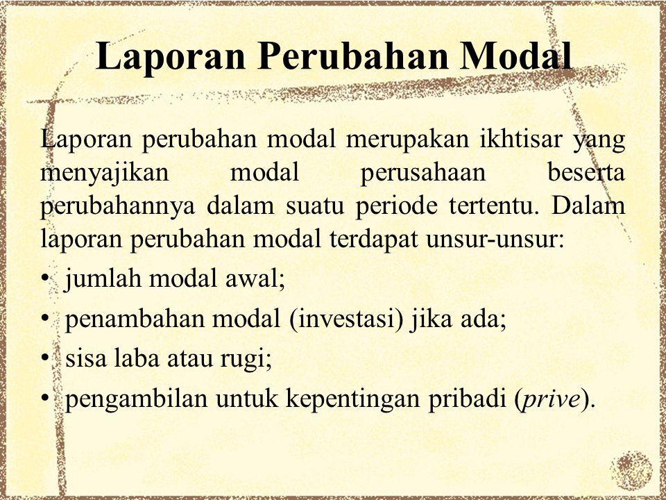 Laporan Perubahan Modal Laporan perubahan modal merupakan ikhtisar yang menyajikan modal perusahaan beserta perubahannya dalam suatu periode tertentu.