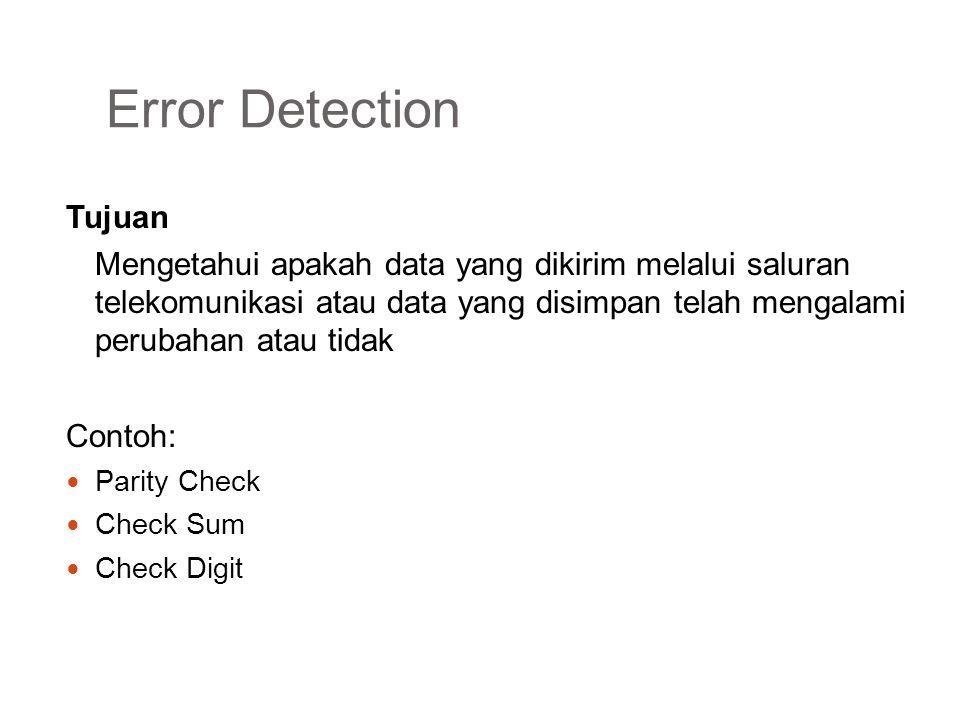 Error Detection Parity Check Menambahkan parity bit dari rangkaian bit yang mau dikirim atau disimpan 10101101  101011011 Ada 2 metode parity Even Parity Odd Parity