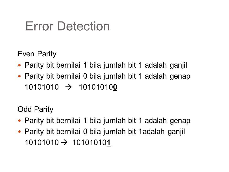 Error Detection Even Parity Parity bit bernilai 1 bila jumlah bit 1 adalah ganjil Parity bit bernilai 0 bila jumlah bit 1 adalah genap 10101010  1010