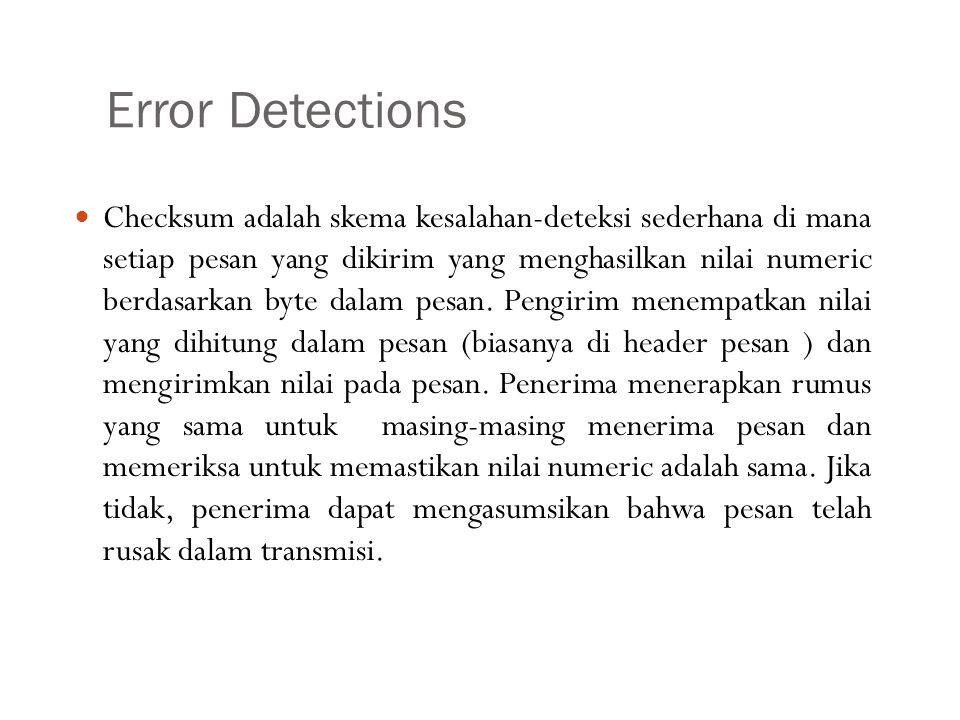Error Detections Checksum adalah skema kesalahan-deteksi sederhana di mana setiap pesan yang dikirim yang menghasilkan nilai numeric berdasarkan byte