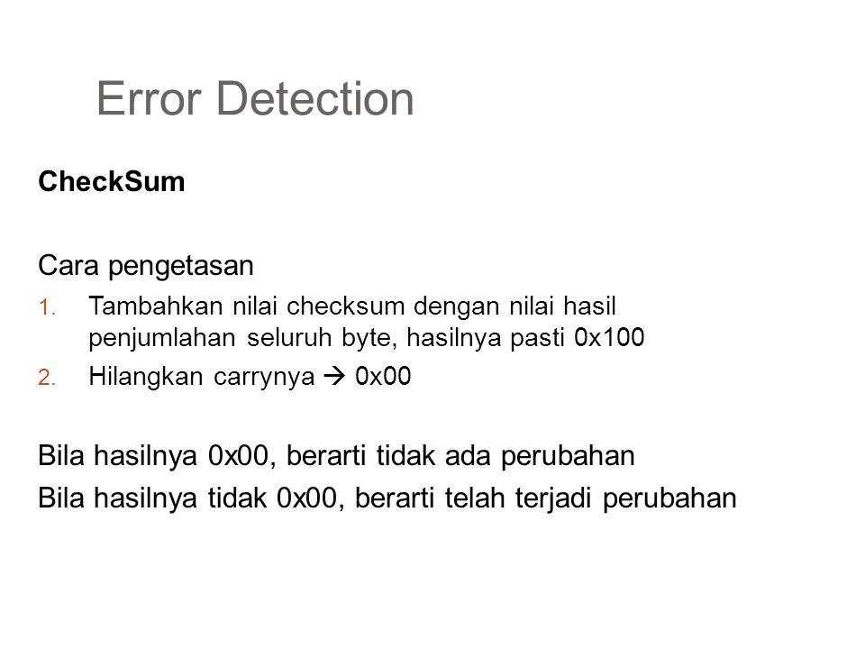 Error Detection CheckSum Cara pengetasan 1. Tambahkan nilai checksum dengan nilai hasil penjumlahan seluruh byte, hasilnya pasti 0x100 2. Hilangkan ca