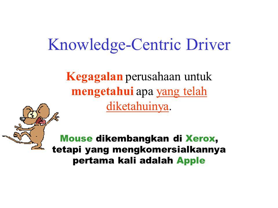 Knowledge-Centric Driver Kegagalan perusahaan untuk mengetahui apa yang telah diketahuinya. Mouse dikembangkan di Xerox, tetapi yang mengkomersialkann