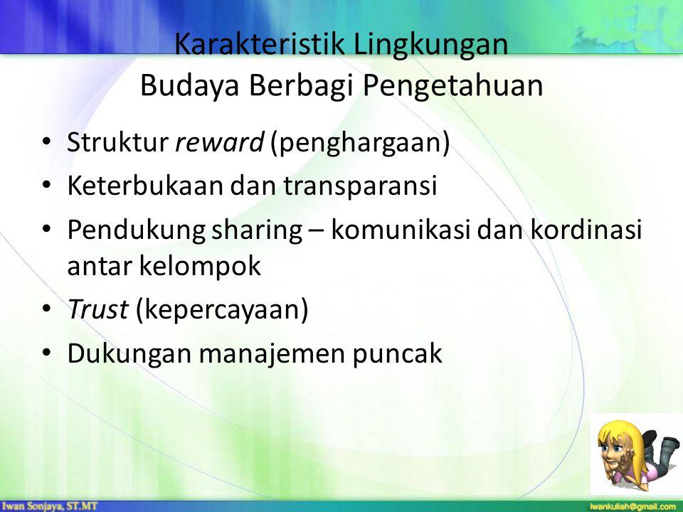 Karakteristik Lingkungan Budaya Berbagi Pengetahuan Struktur reward (penghargaan) Keterbukaan dan transparansi Pendukung sharing – komunikasi dan kord