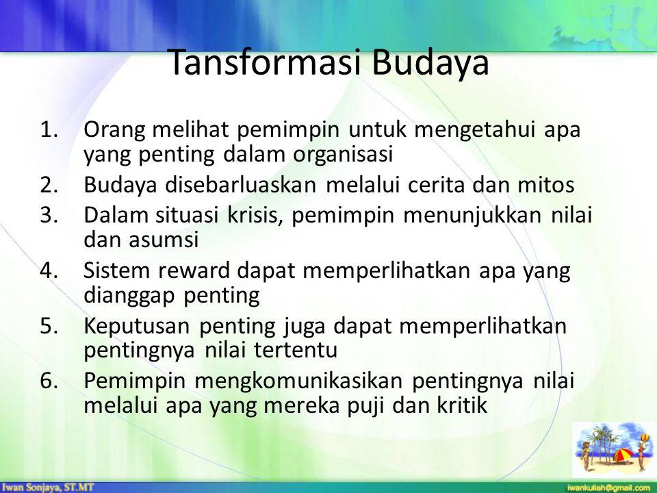 Tansformasi Budaya 1.Orang melihat pemimpin untuk mengetahui apa yang penting dalam organisasi 2.Budaya disebarluaskan melalui cerita dan mitos 3.Dala