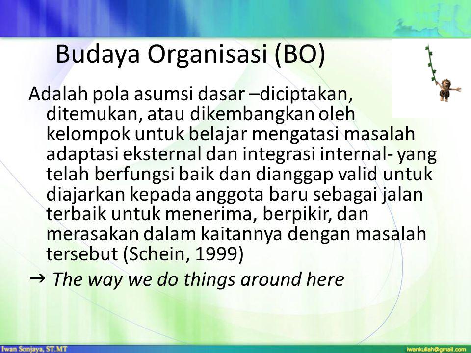 Budaya Organisasi (BO) Adalah pola asumsi dasar –diciptakan, ditemukan, atau dikembangkan oleh kelompok untuk belajar mengatasi masalah adaptasi ekste