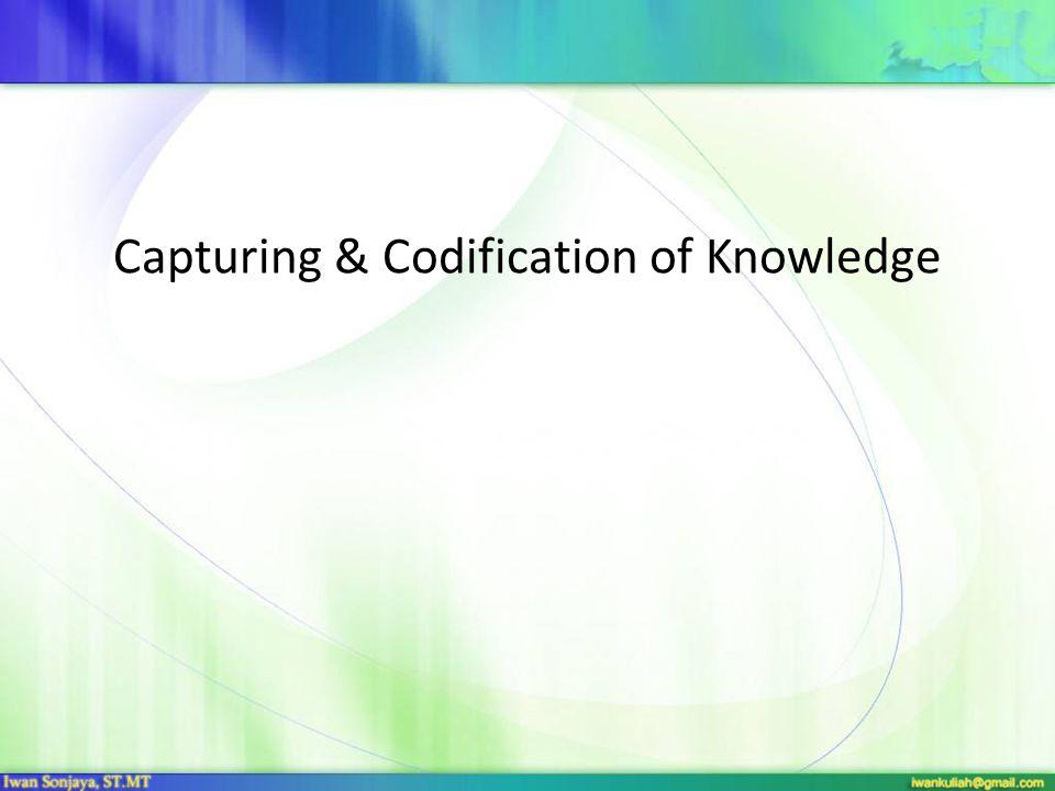 PENDAHULUAN Tahap pertama dalam siklus KM Menangkap (capturing) atau mengekstrak pengetahuan tacit Mengorganisasi atau mengkodekan pengetahuan explicit Perlu dibedakan antara menangkap/identifikasi pengetahuan yang ada dengan penciptaan pengetahuan yang baru
